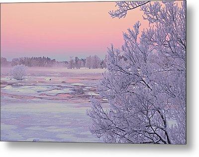 River In Winter Metal Print by Conny Sjostrom