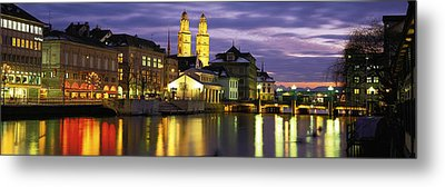 River Limmat Zurich Switzerland Metal Print by Panoramic Images