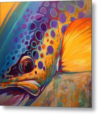 River Orchid - Brown Trout Metal Print by Savlen Art