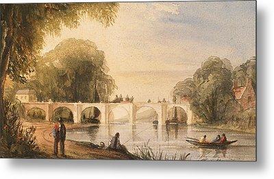 River Scene With Bridge Of Six Arches Metal Print by Robert Hindmarsh Grundy