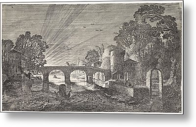 River View At Sunset, Jan Van De Velde II Metal Print by Artokoloro