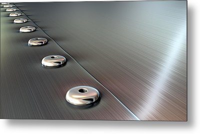 Rivets On Brushed Metal Perspective Metal Print by Allan Swart
