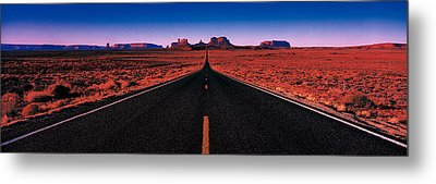 Road Monument Valley Tribal Park Ut Usa Metal Print by Panoramic Images