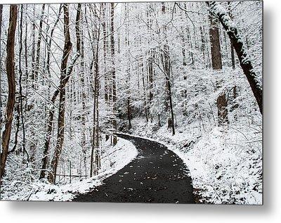 Roaring Fork Snowy Road Metal Print by Debbie Green