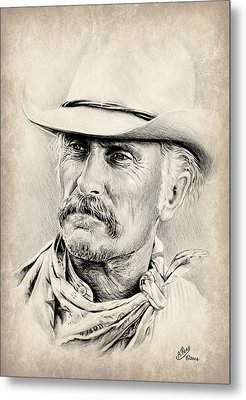 Robert Duvall Sepia Scratch Metal Print by Andrew Read