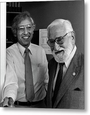 Robert Gallo And Albert Sabin Metal Print by National Cancer Institute