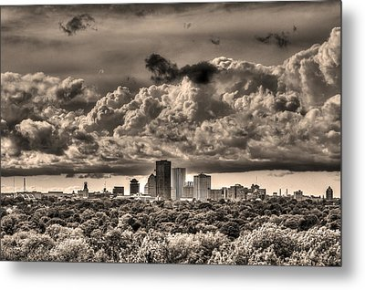 Rochester Ny Skyline In Sepia Metal Print by Tim Buisman