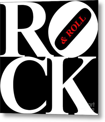 Rock And Roll 20130708 White Black Red Metal Print by Wingsdomain Art and Photography