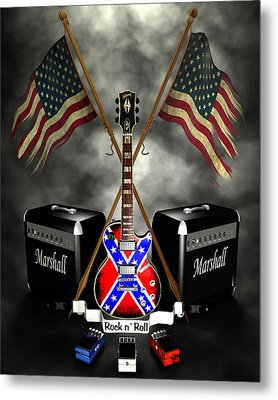 Rock N Roll Crest- Usa Metal Print by Frederico Borges