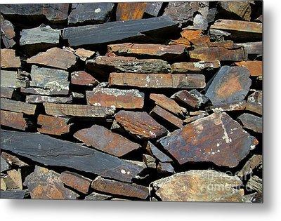 Metal Print featuring the photograph Rock Wall Of Slate by Bill Gabbert