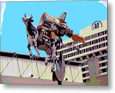 Rocket Cow Sculpture By Michael Bingham Metal Print by Steve Ohlsen