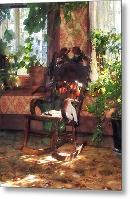 Rocking Chair In Victorian Parlor Metal Print by Susan Savad