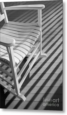 Rocking Chair On The Porch Metal Print by Diane Diederich