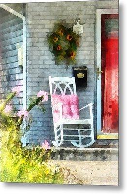 Rocking Chair With Pink Pillow Metal Print by Susan Savad