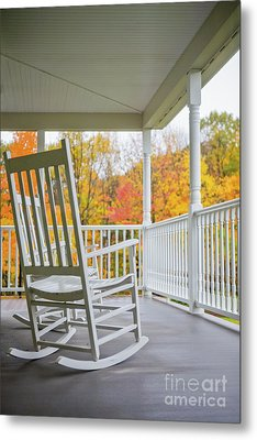 Rocking Chairs On A Porch In Autumn Metal Print by Diane Diederich