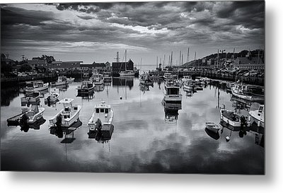Rockport Harbor View - Bw Metal Print by Stephen Stookey