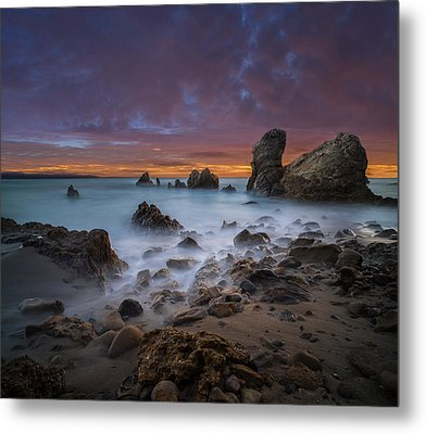 Rocky California Beach - Square Metal Print by Larry Marshall
