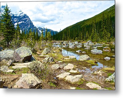 Rocky End Of Consolation Lake In Banff Np-ab   Metal Print by Ruth Hager