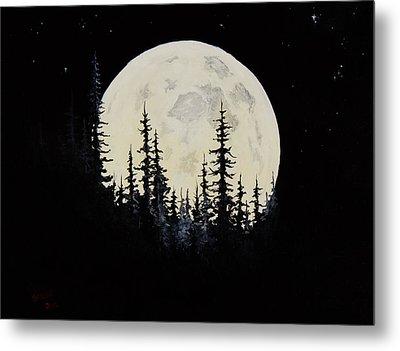 Rocky Mountain Moon Metal Print by C Steele