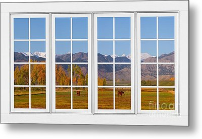 Rocky Mountains Horses White Window Frame View Metal Print by James BO  Insogna