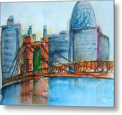 Roebling Bridge Near Dusk Metal Print by Elaine Duras