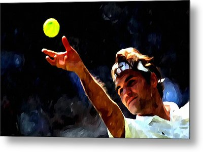 Roger Federer Tennis 1 Metal Print by Lanjee Chee