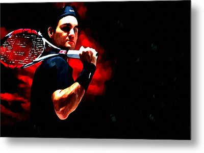 Roger Federer Tennis Metal Print by Lanjee Chee