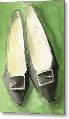 Roger Vivier Black Buckle Shoes Fashion Illustration Art Print Metal Print by Beverly Brown Prints