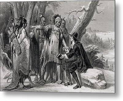 Roger Williams Sheltered By The Narragansetts Metal Print by James Charles Armytage