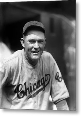 Rogers Hornsby Smiling In Cubs Jersey Metal Print by Retro Images Archive
