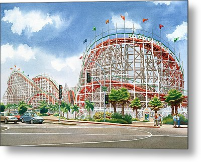 Roller Coaster Mission Beach Metal Print by Mary Helmreich