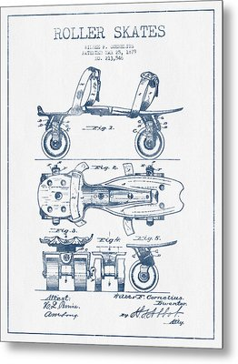 Roller Skate Patent Drawing From 1879  - Blue Ink Metal Print by Aged Pixel