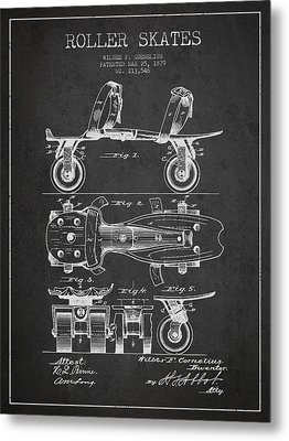 Roller Skate Patent Drawing From 1879 - Dark Metal Print by Aged Pixel