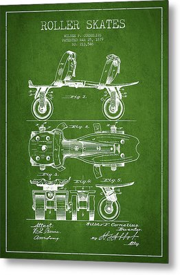 Roller Skate Patent Drawing From 1879 - Green Metal Print by Aged Pixel