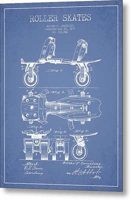 Roller Skate Patent Drawing From 1879 - Light Blue Metal Print by Aged Pixel