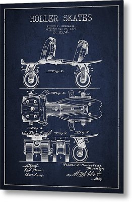 Roller Skate Patent Drawing From 1879 - Navy Blue Metal Print by Aged Pixel