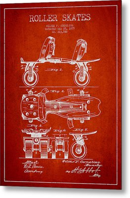 Roller Skate Patent Drawing From 1879 - Red Metal Print by Aged Pixel