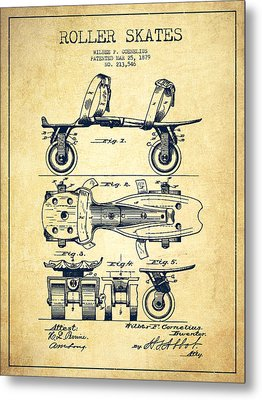 Roller Skate Patent Drawing From 1879 - Vintage Metal Print by Aged Pixel