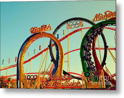 Rollercoaster At The Octoberfest In Munich Metal Print by Sabine Jacobs