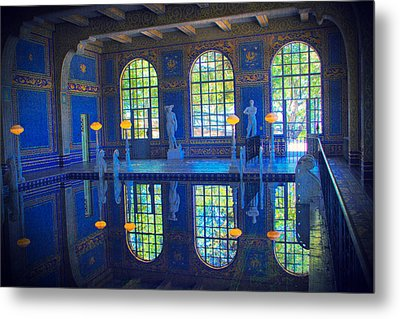 Roman Pool Reflection Hearst Castle Metal Print by Heidi Smith