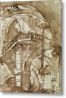 Roman Prison Metal Print by Giovanni Battista Piranesi