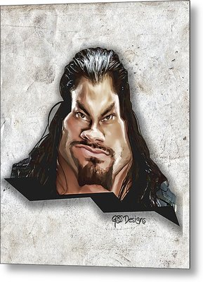 Roman Reigns Caricature By Gbs Metal Print by Anibal Diaz