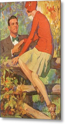 Romance 1920s Usa Manners Chivalry Metal Print by The Advertising Archives