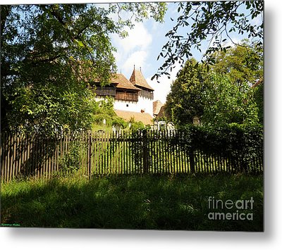 Romanian Fortified Church Metal Print by Ramona Matei