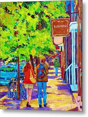 Romantic Stroll Along Rue Laurier Montreal Street Scenes Paintings Carole Spandau Metal Print by Carole Spandau