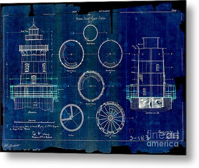 Romer Shoal Light Station Circa 1838 Blue Metal Print by Jon Neidert