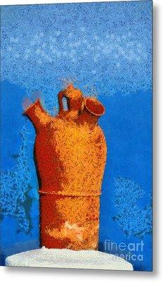 Roof Pottery In Sifnos Island Metal Print by George Atsametakis