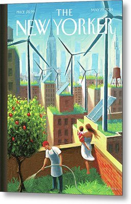 Rooftop Urban Gardening In New York Metal Print by Eric Drooker