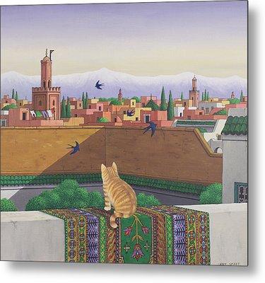 Rooftops In Marrakesh Metal Print by Larry Smart