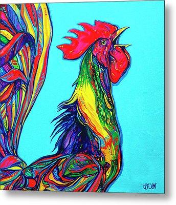 Rooster Crow Metal Print by Derrick Higgins